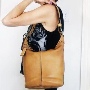 Coach Distressed Tan Leather Bleecker Bucket Bag